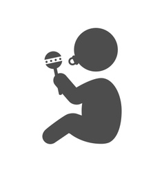 Baby with beanbag and dummy pictogram flat icon vector