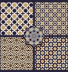 Seamless islamic color patterns set vector