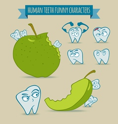 Set of human teeth funny characters with apple vector