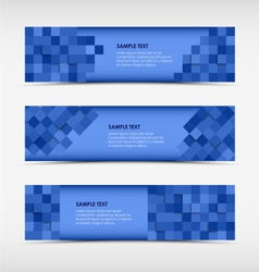 Abstract horizontal banners with blue squares vector