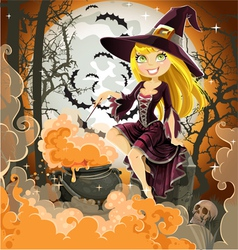 Witch with potion in the pot sits in the cemetery vector