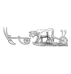 Plough vintage engraving vector