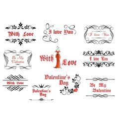 Calligraphic elements with love and valentines vector