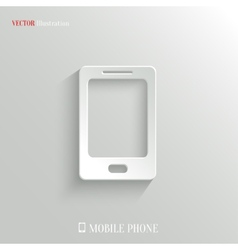 Smartphone icon - white app button vector