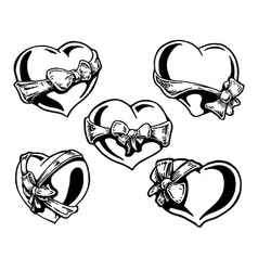 Valentine heart with a bowknot vector