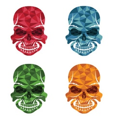 Set of skulls polygon art vector