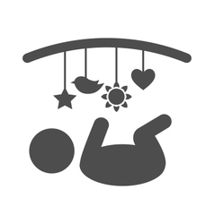 Baby with hanging toys pictogram flat icon vector
