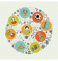 Education back to school colorful social icons vector