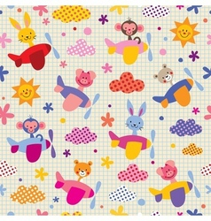 Cute animals in airplanes kids pattern vector