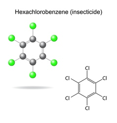 Hexachlorobenzene - model and formula vector