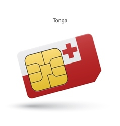 Tonga mobile phone sim card with flag vector