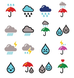 Rain thunderstorm heavy clouds buttons s vector