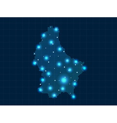 Pixel luxembourg map with spot lights vector
