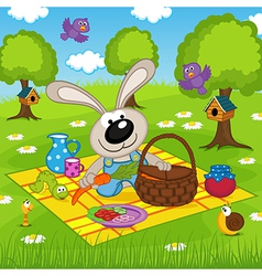 Rabbit on picnic in park vector