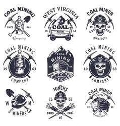Set of vintage coal mining emblems vector