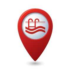 Map pointer with swimming pool icon vector