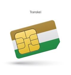 Transkei mobile phone sim card with flag vector