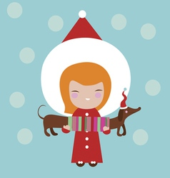 Cute girl with dog holiday vector