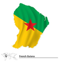 Map of french guiana with flag vector