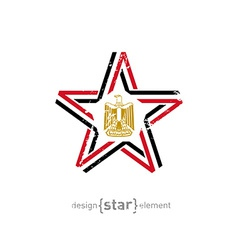 Star with egypt flag colors symbols and grunge vector