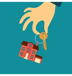 Hand of a real estate agent holding a key with a vector
