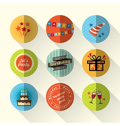 Birthday party flat icon set vector