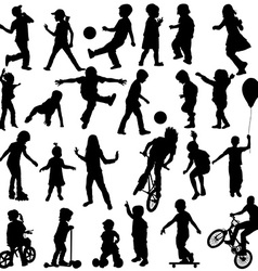 Group of active children hand drawn sillhouettes vector