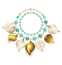 Necklace of golden leaves vector