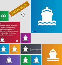 Ship icon sign buttons modern interface website vector