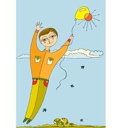 Boy fly balloon vector
