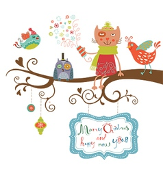 Christmas card cat and birds vector