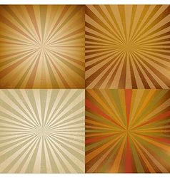 Vintage sunburst backgrounds set vector