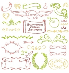 Hand-drawn elements set vector