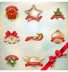 Christmas decor objects collection eps 10 vector
