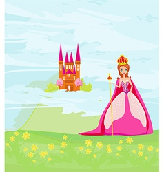 Beautiful queen in front of her castle vector