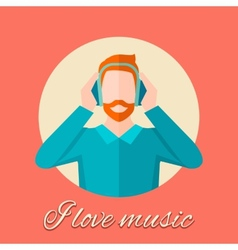 Man listening music vector
