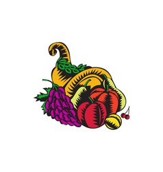 Cornucopia fruit harvest woodcut vector