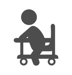 Baby in walker pictogram flat icon isolated on vector
