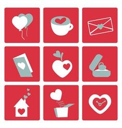 Valentines love icons vector