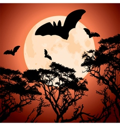 Moon trees and bats vector