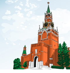 Spasskaya tower of the moscow kremlin russi vector