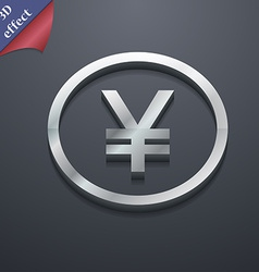 Japanese yuan icon symbol 3d style trendy modern vector