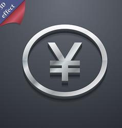 Japanese yuan icon symbol 3d style trendy modern vector