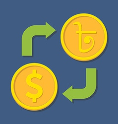 Currency exchange dollar and bengali rupee vector