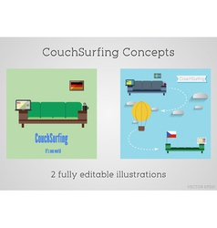 Set of couch surfing concept travel infographic vector