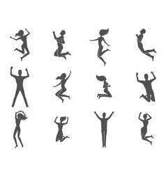 Jumping people set vector