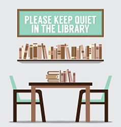 Reading seats in front of a bookcase with vector