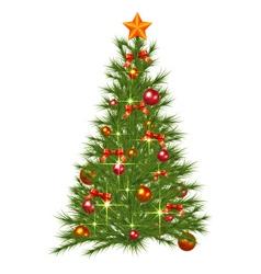 Decorated christmas fir tree vector