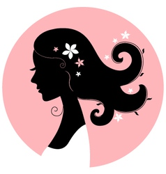 Romance girl floral silhouette in pink circle vector