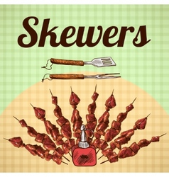 Skewers sketch poster vector